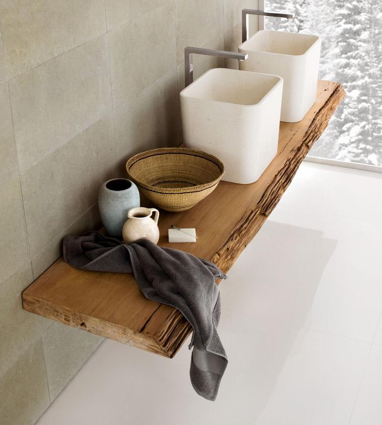 Vasca lavabo e doccia in pietra la collezione duo di for La vasca idromassaggio progetta i piani